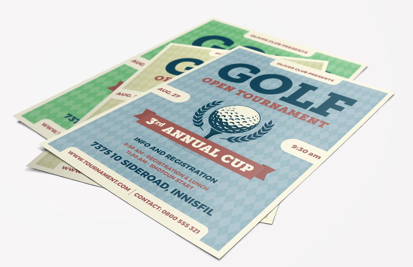 Golf Tournament Flyer (AI, Word)