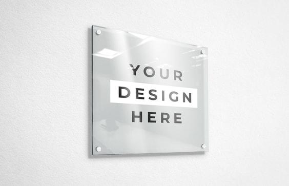 Glass Panel Sign Mockup