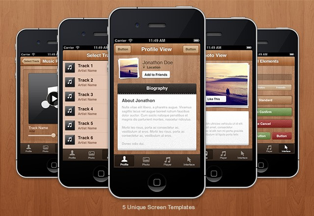Wood iPhone App UI Theme