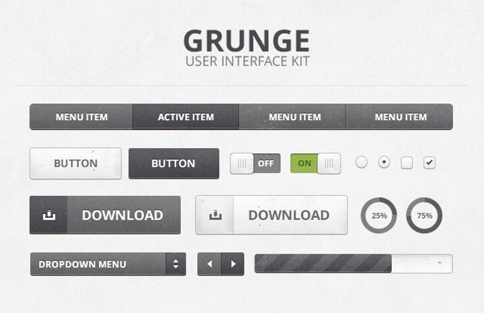 Grunge  Ui  Kit  Preview1