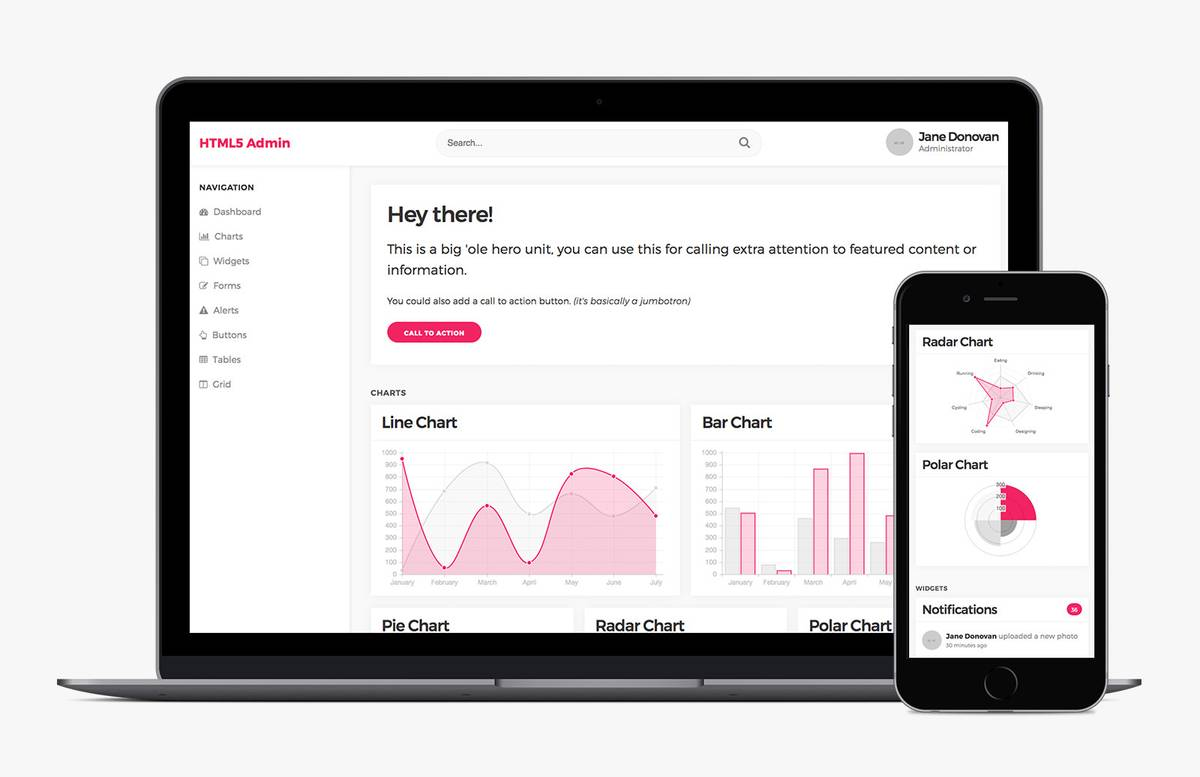 Html5 Admin Template 2 Preview 1
