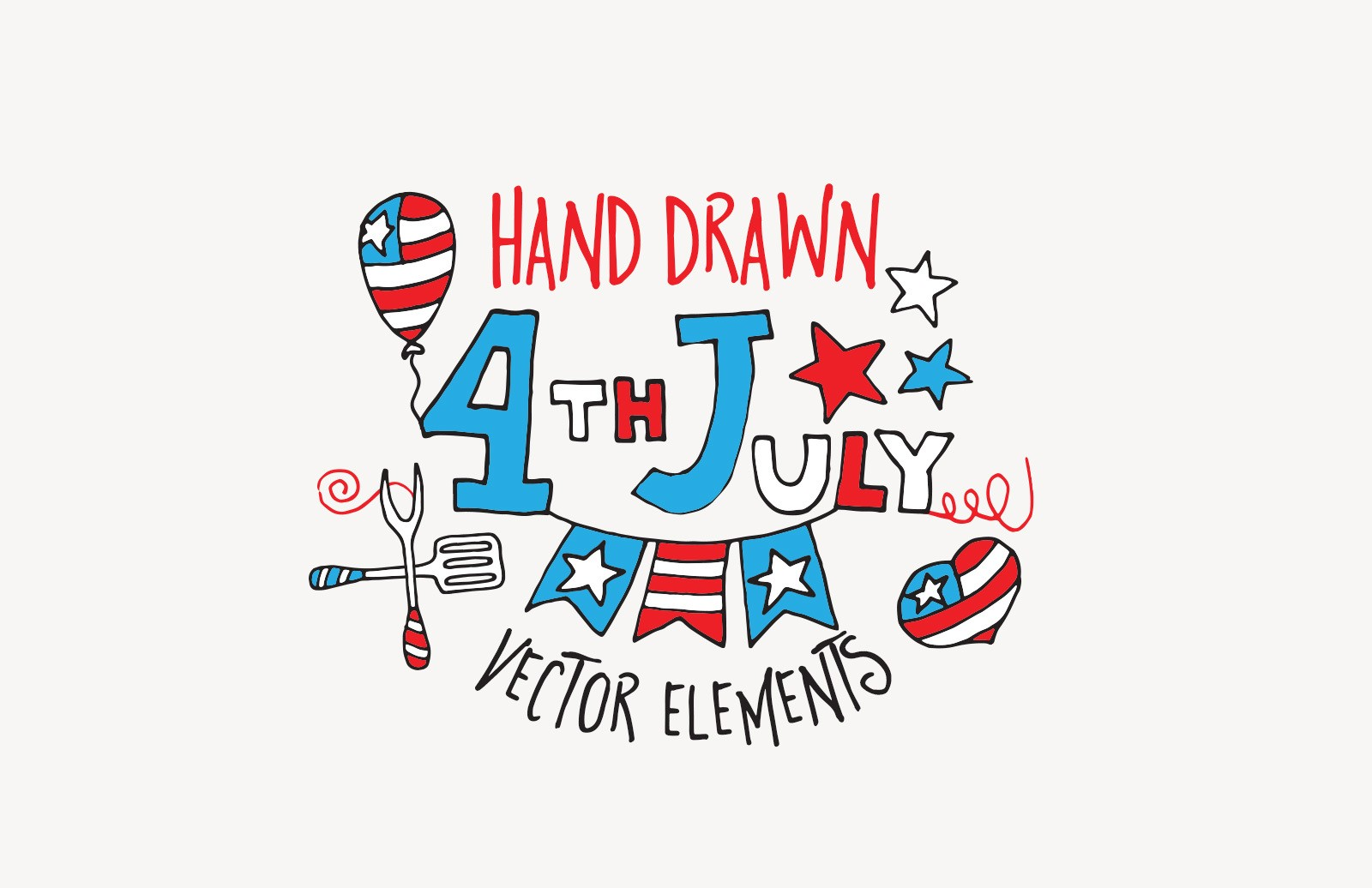 Hand Drawn 4th July Vector Elements 1