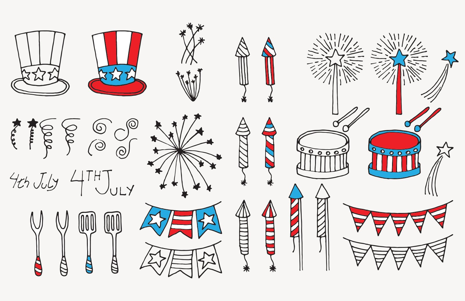Hand Drawn 4th July Vector Elements