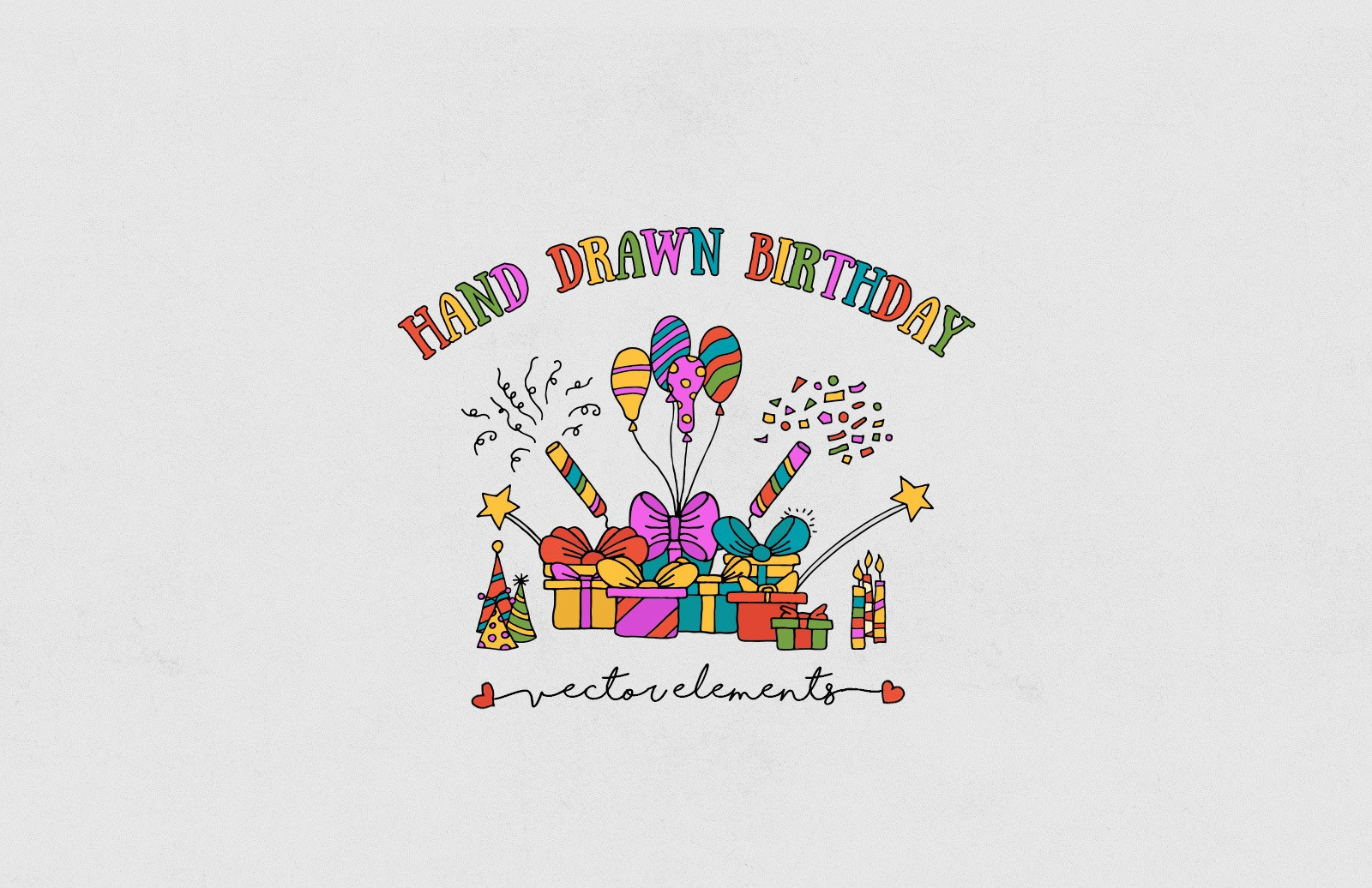 Hand Drawn Birthday Elements Preview 1