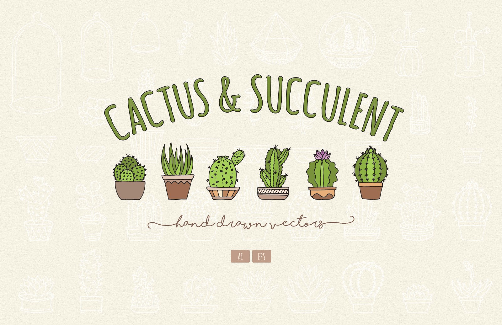 Hand Drawn Cactus Succulent Vectors Preview 1