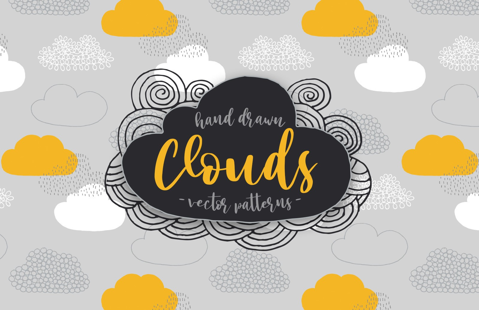 Hand Drawn Clouds Vector Patterns Preview 1
