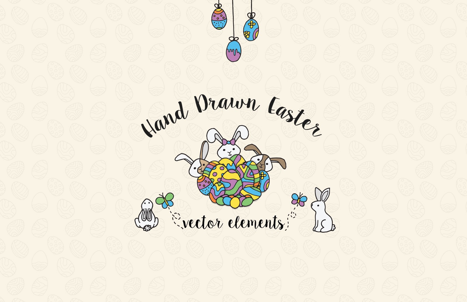 Hand Drawn Easter Elements Preview 1