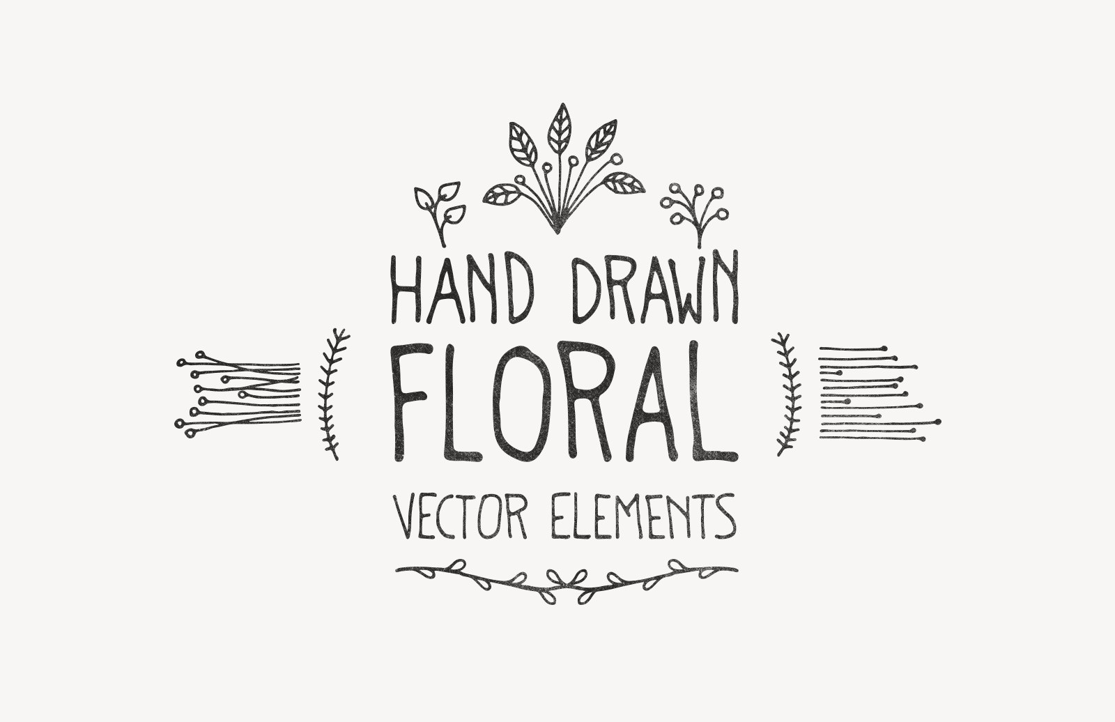 Large Hand Drawn Floral Vector Elements Preview 1