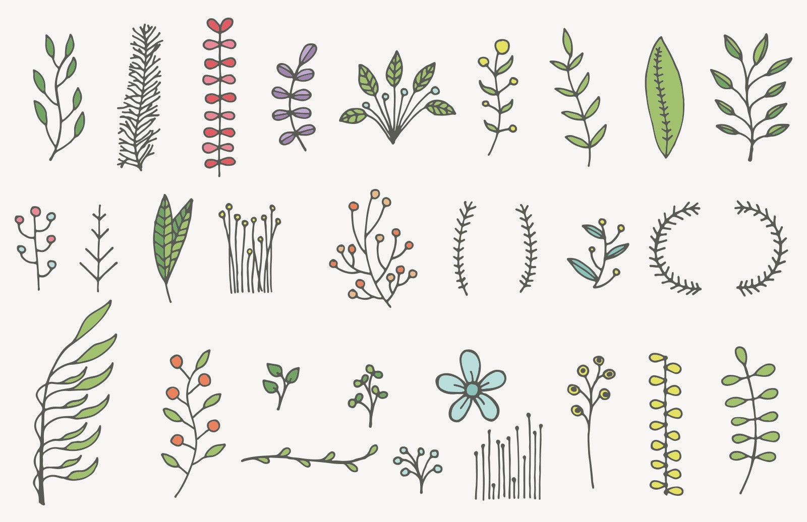 Large Hand Drawn Floral Vector Elements Preview 2