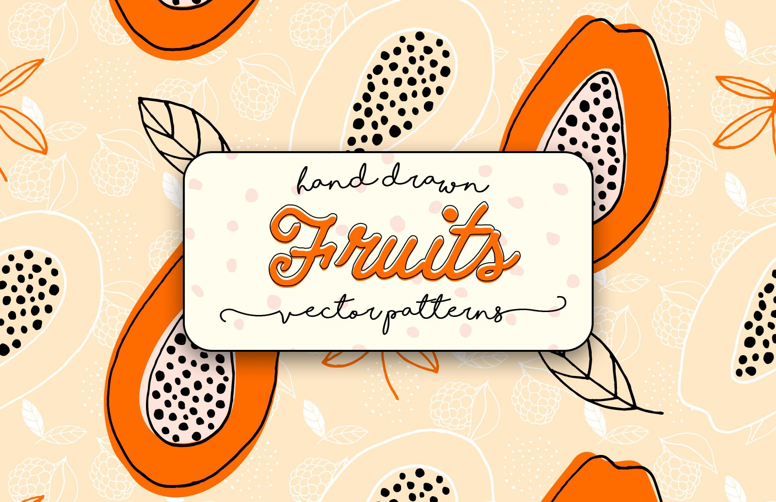 Hand Drawn Fruits Vector Patterns Preview 1