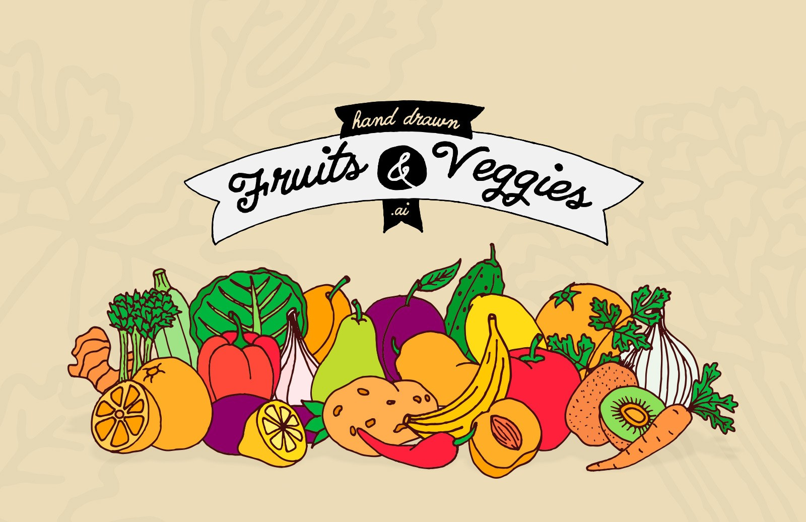 Hand Drawn Fruits Veggies Preview 1