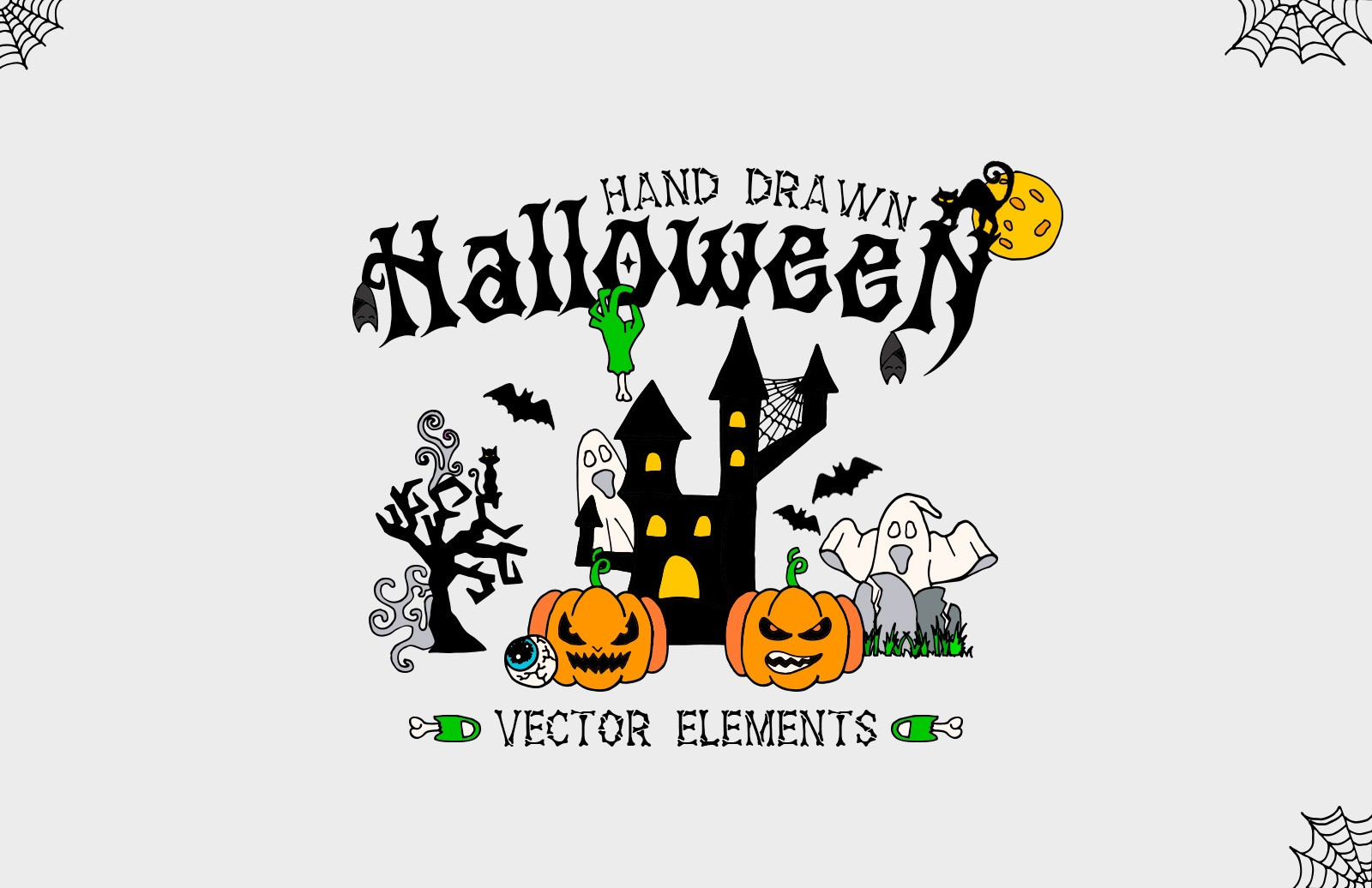 Hand Drawn Halloween Elements Preview 1