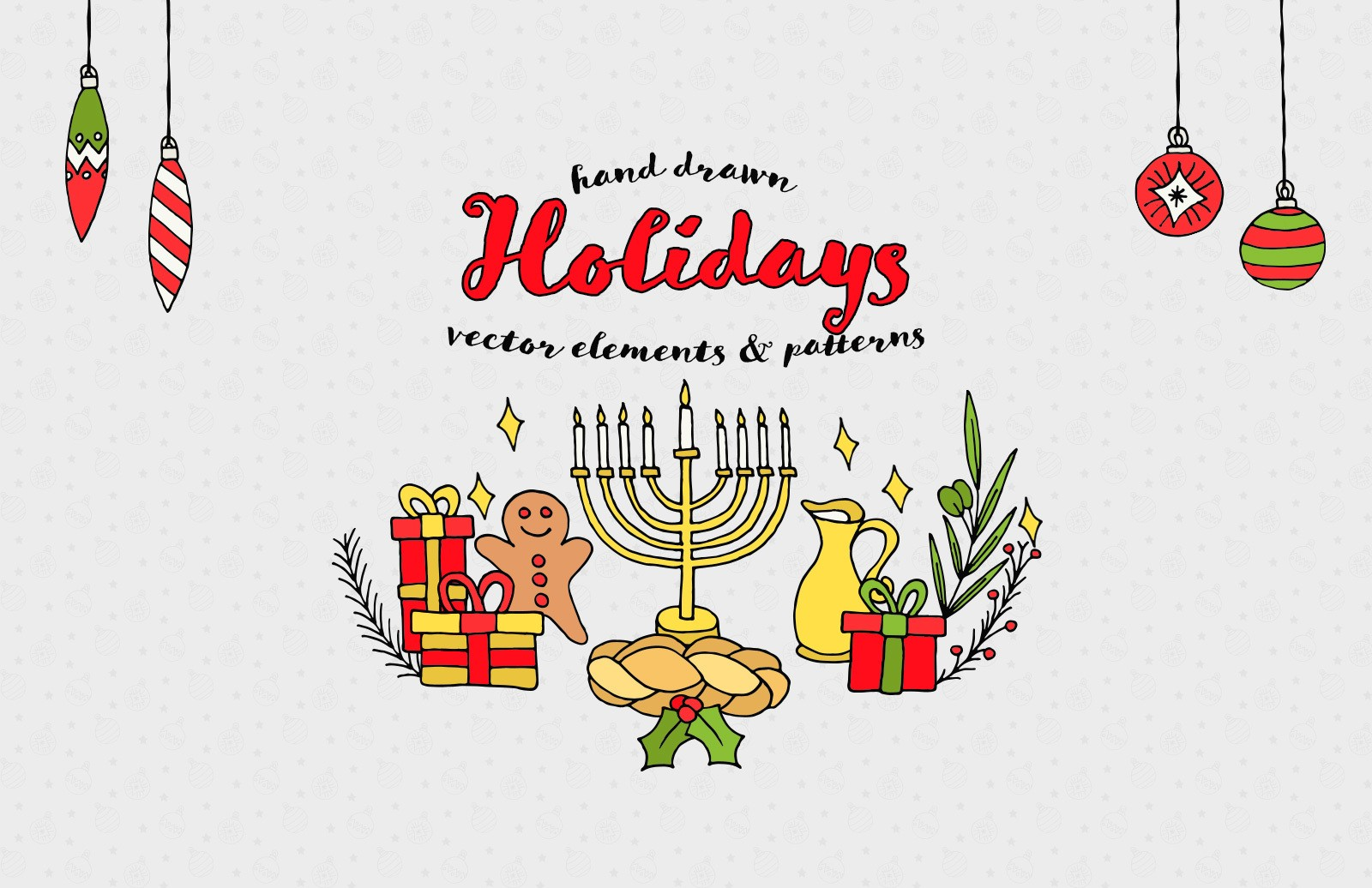 Hand Drawn Holidays Elements And Patterns Preview 1
