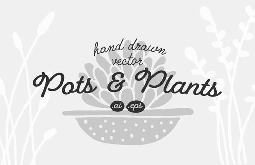 Hand Drawn Pots and Plants