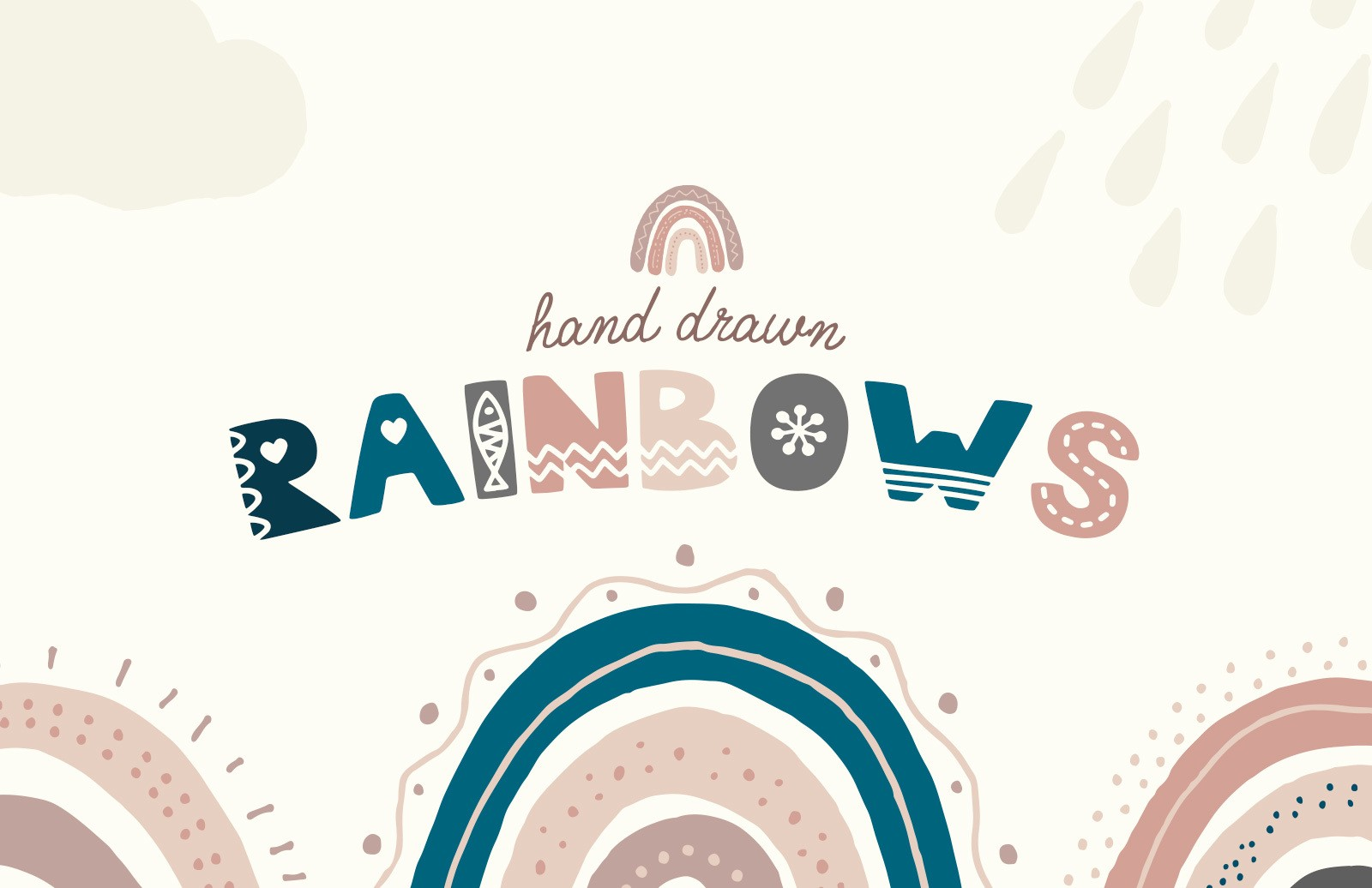 Hand Drawn Rainbows Preview 1