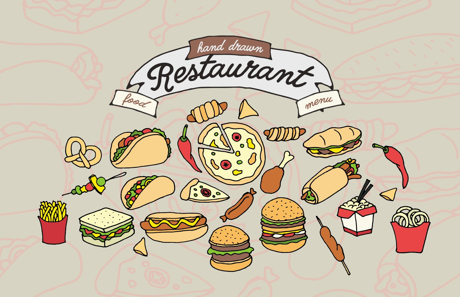 Hand Drawn Restaurant Food Menu Vectors Preview 1