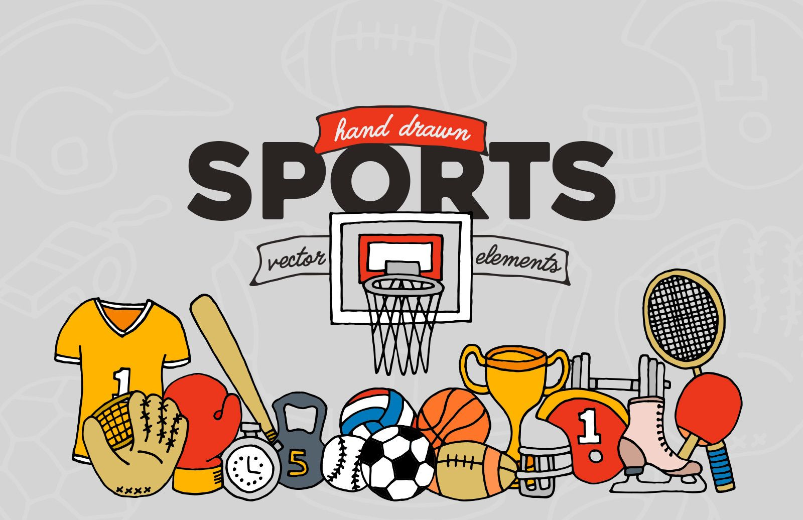 Hand Drawn Sports Vector Elements Preview 1