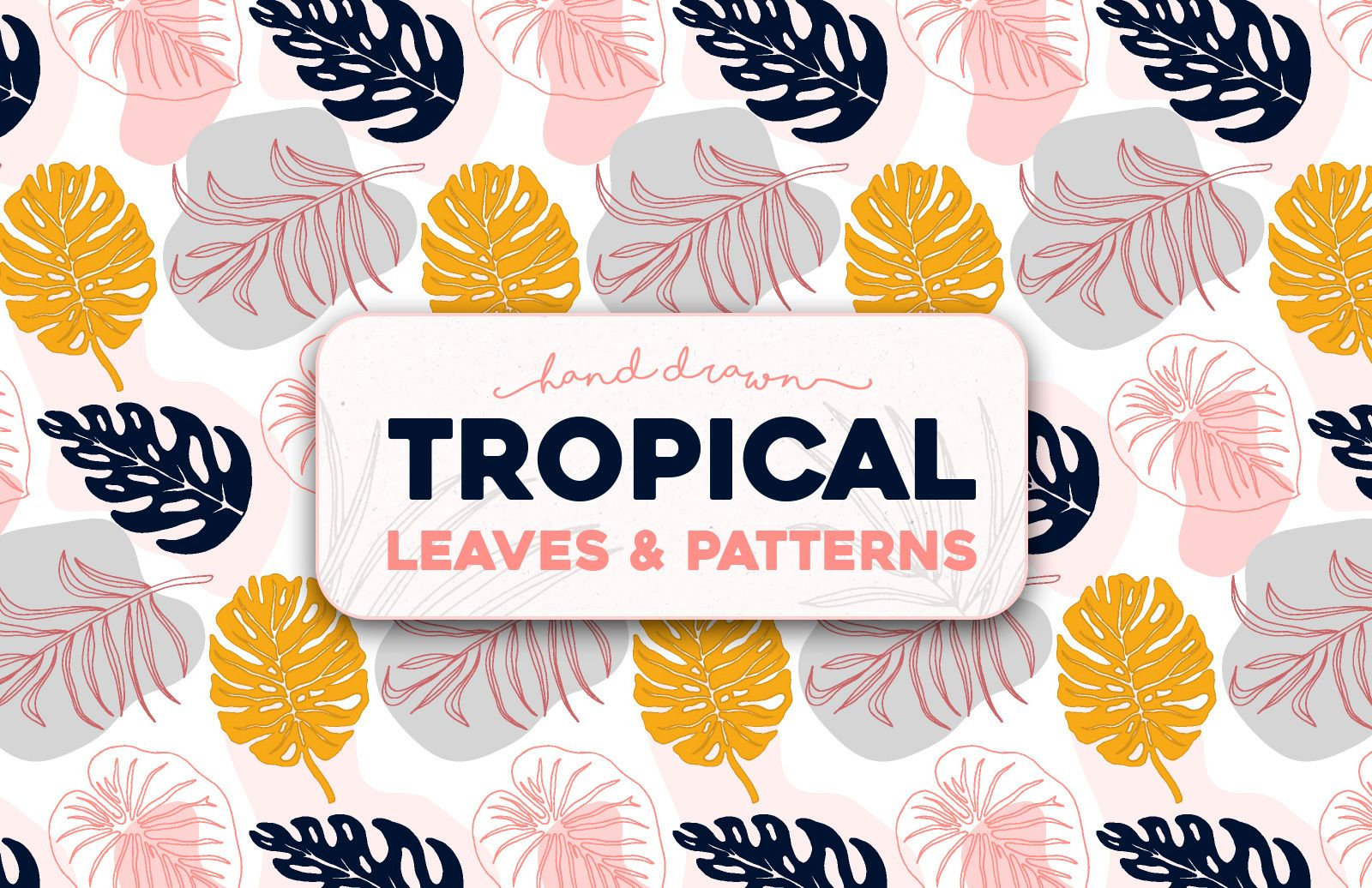 Hand Drawn Tropical Leaves And Patterns Preview 1