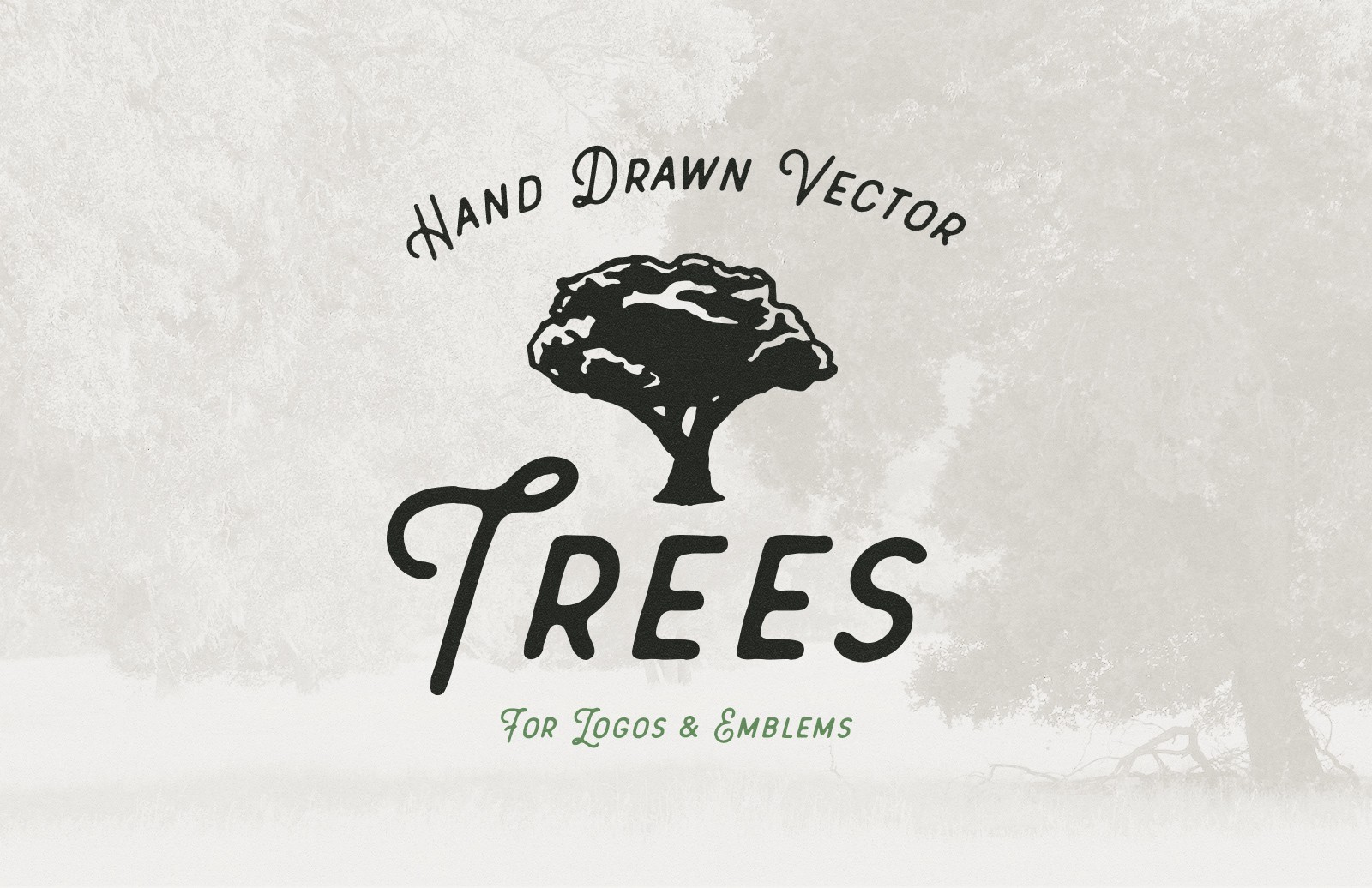 Large Hand Drawn Vector Trees Preview 1