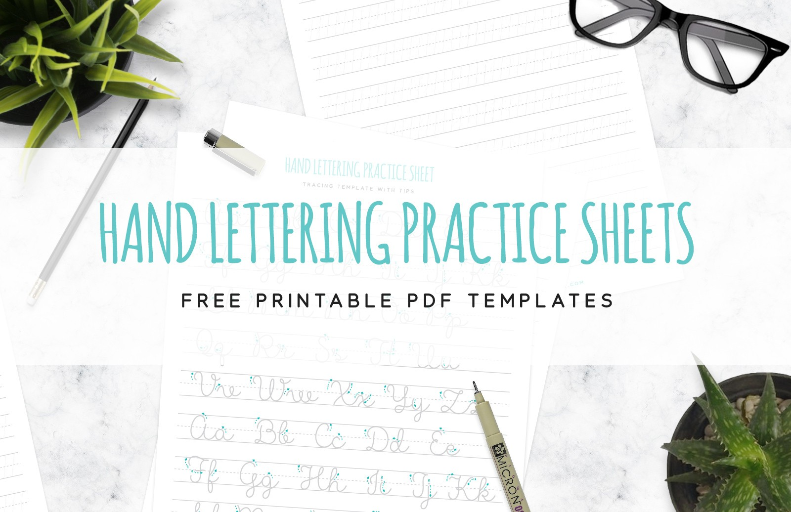 Free Hand Lettering Practice Sheets 1