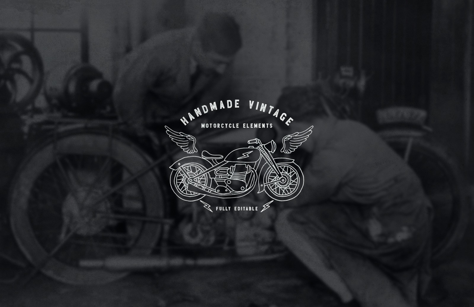 Handmade Vintage Motorcycle Elements Preview 1