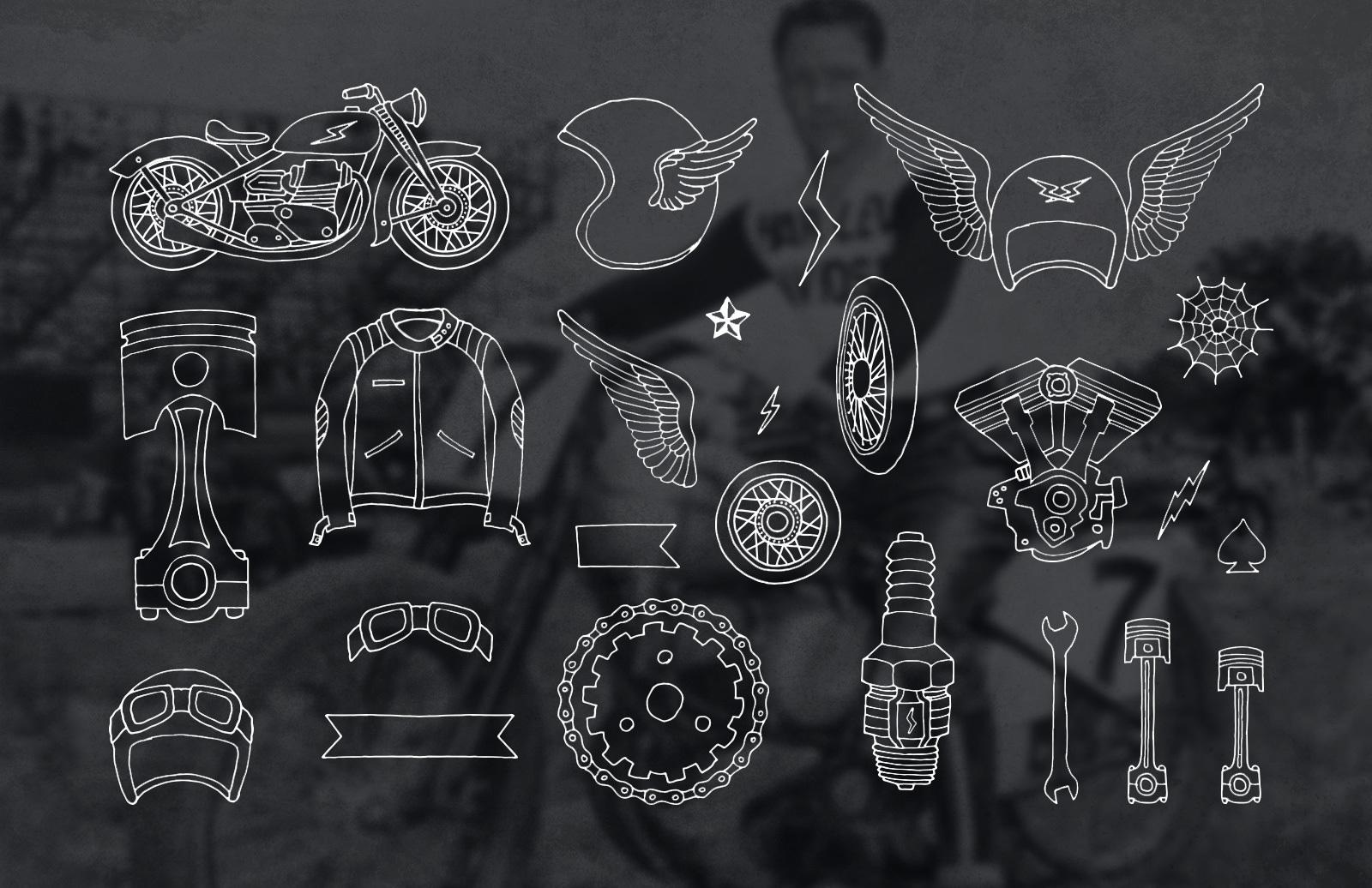 Handmade Motorcycle Vector Elements 2