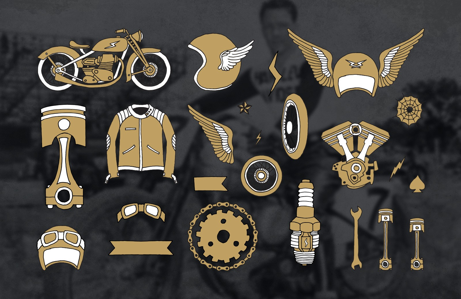 Large Handmade Vintage Motorcycle Elements Preview 3