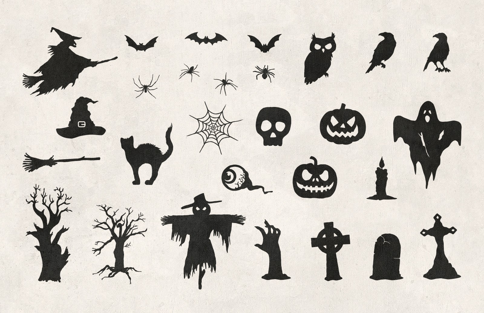 Large Halloween  Hand  Drawn  Vectors  Preview 2