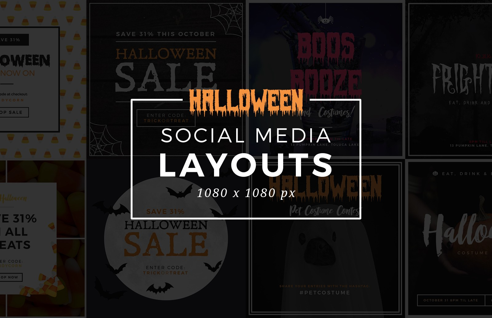 Large Halloween  Social  Media  Layouts  Preview 1