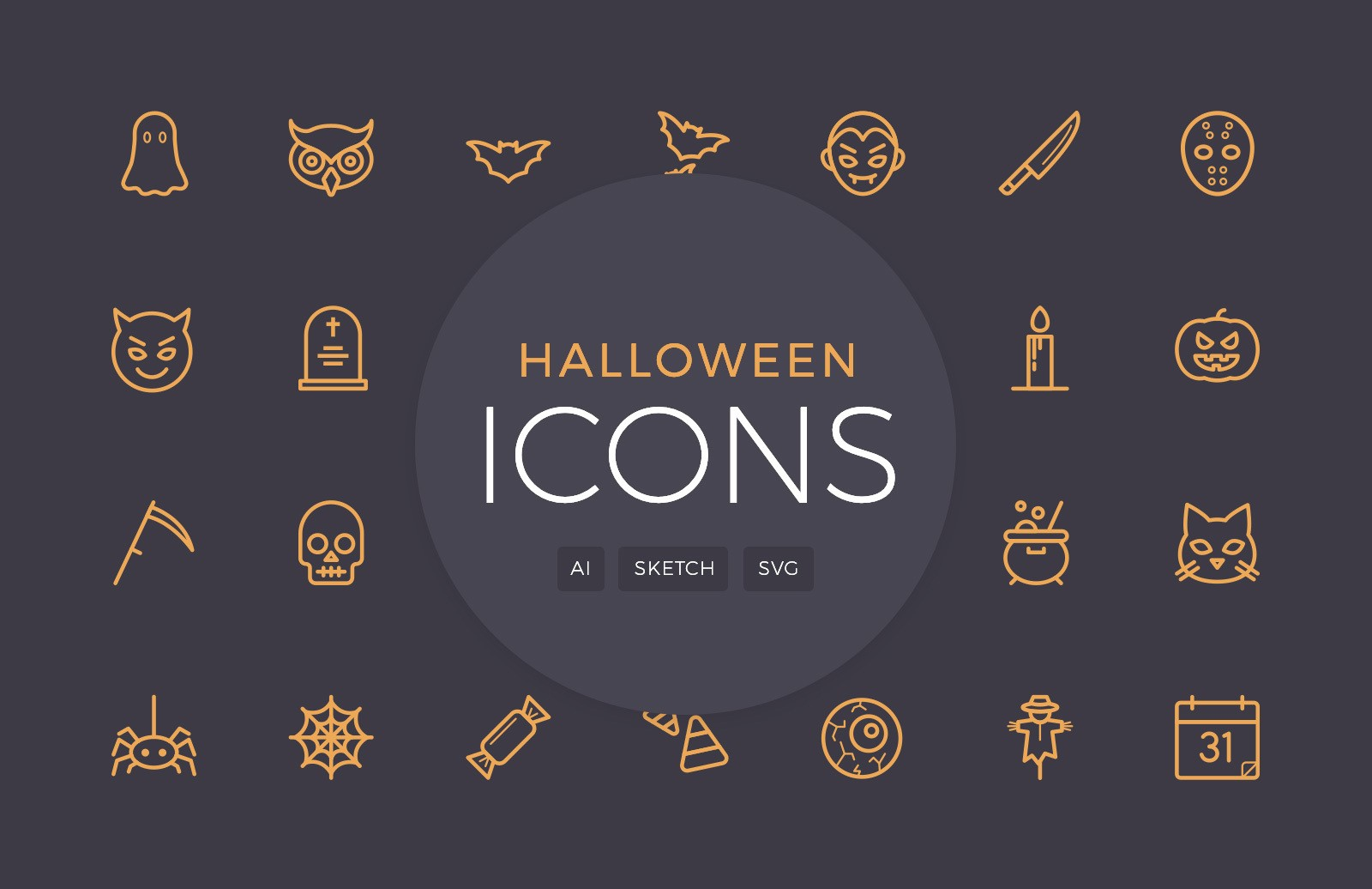 Halloween Vector Line Icons Preview 1