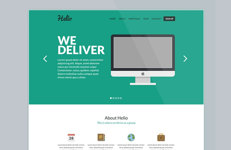 Helio - Single Page Flat PSD Template