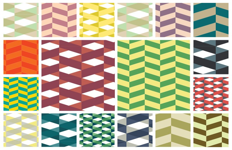 Seamless Vector Herringbone Pattern Swatches