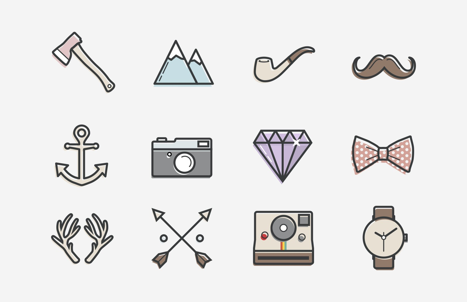 Hispter  Stuff  Vector  Icons  Preview 1