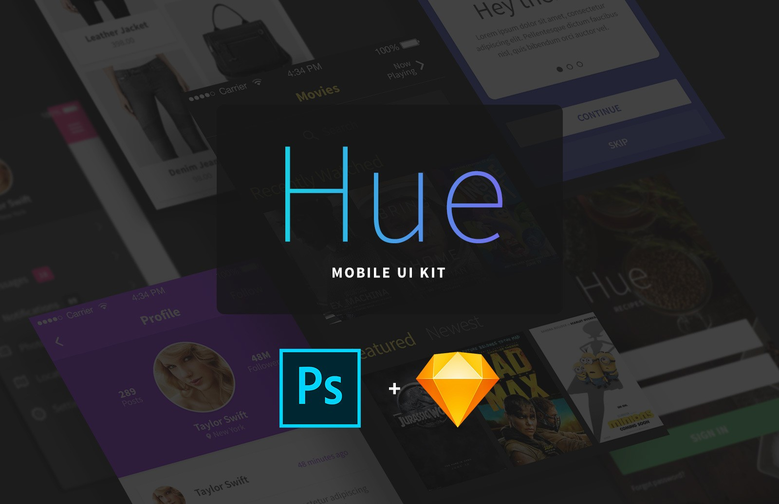 Hue Mobile Ui Kit 3 Preview 1