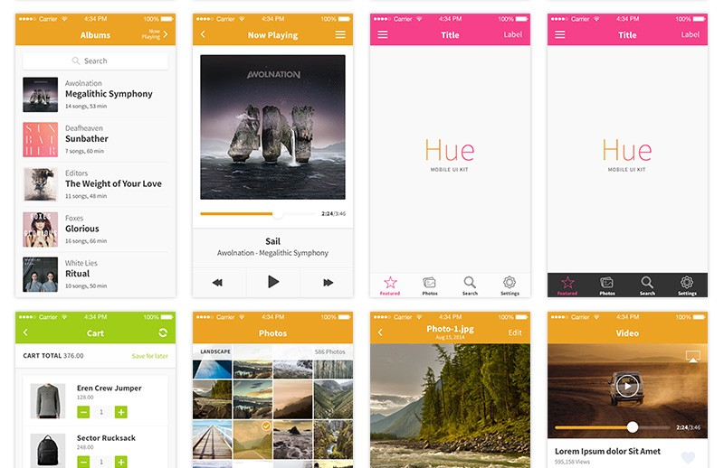 Hue  Mobile  Ui  Kit  Preview 4