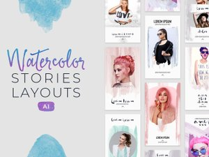 Instagram Watercolor Stories Layouts - (AI) 1