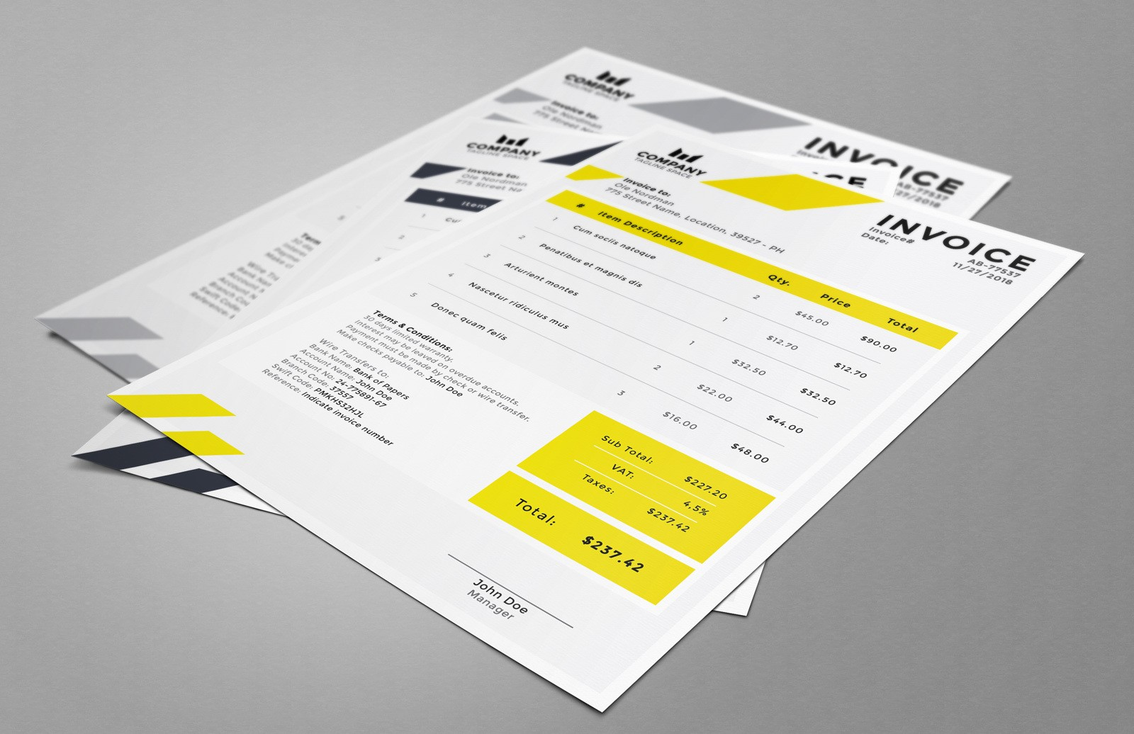 Invoice Template (AI, Word)