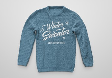 Knitted Winter Sweater Mockup