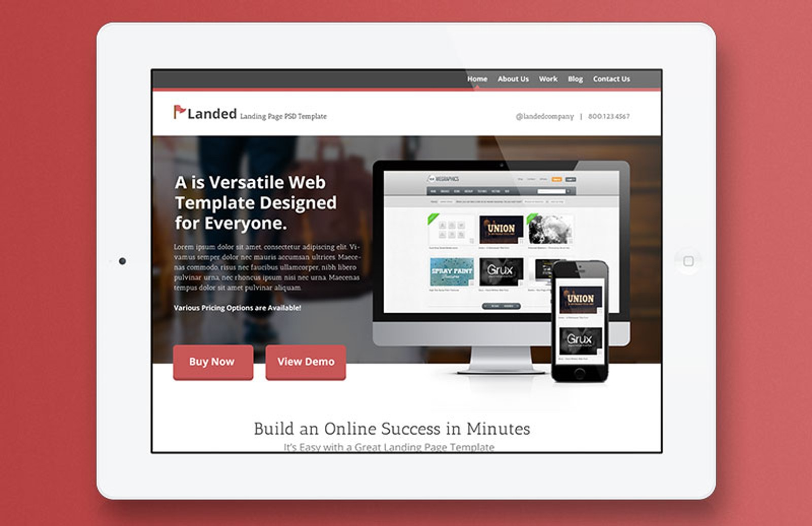 Landed – PSD Landing Page Template — Medialoot