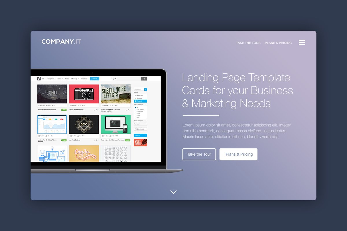 Landing Page Header Cards