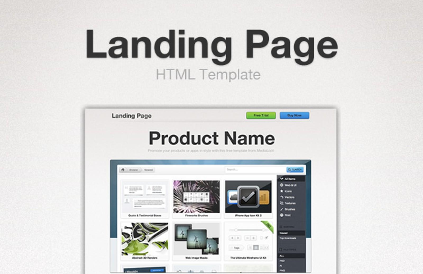 landing page html template medialoot. Black Bedroom Furniture Sets. Home Design Ideas