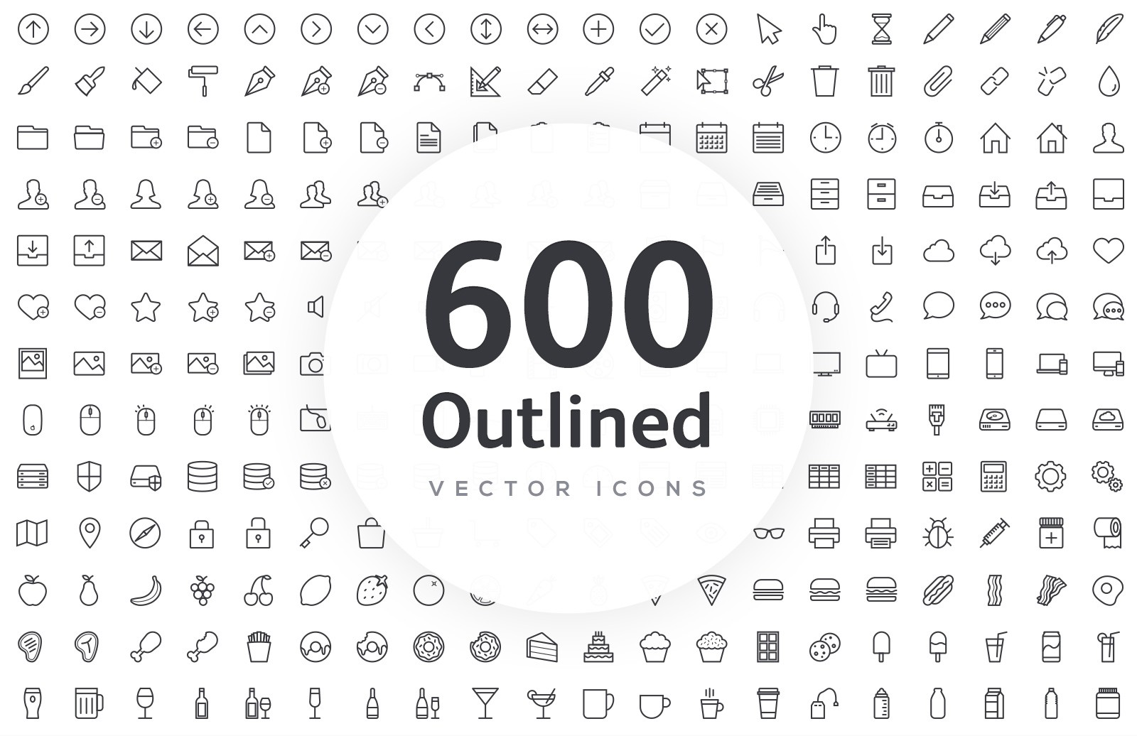 600 Vector Line Icons - Outlined