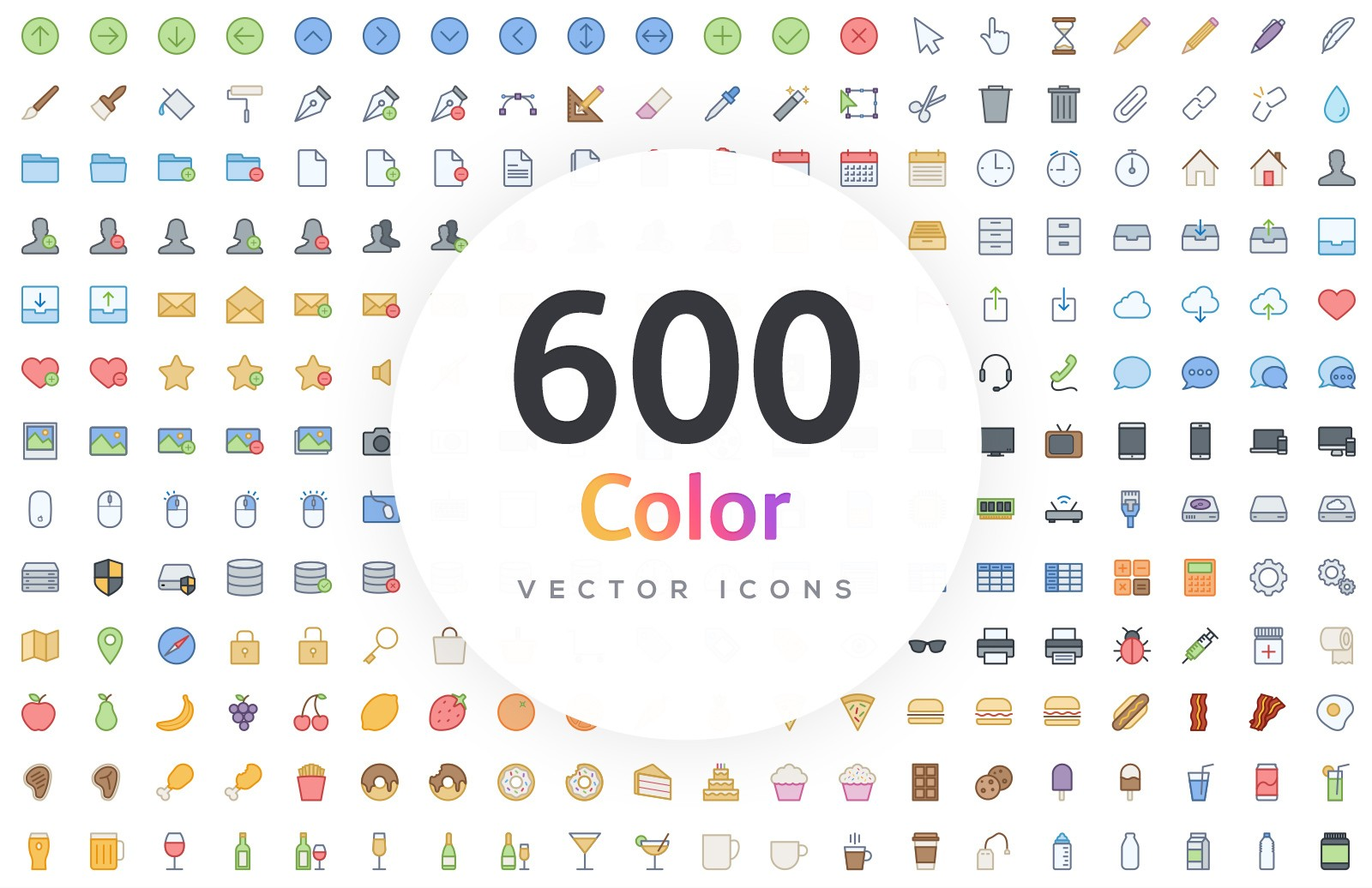 600 Vector Line Icons - Color 1