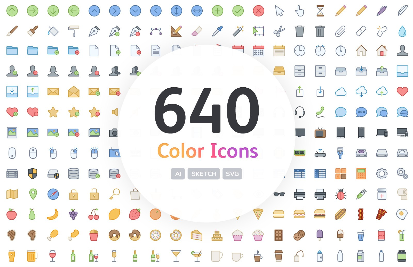 640 Vector Line Icons - Color