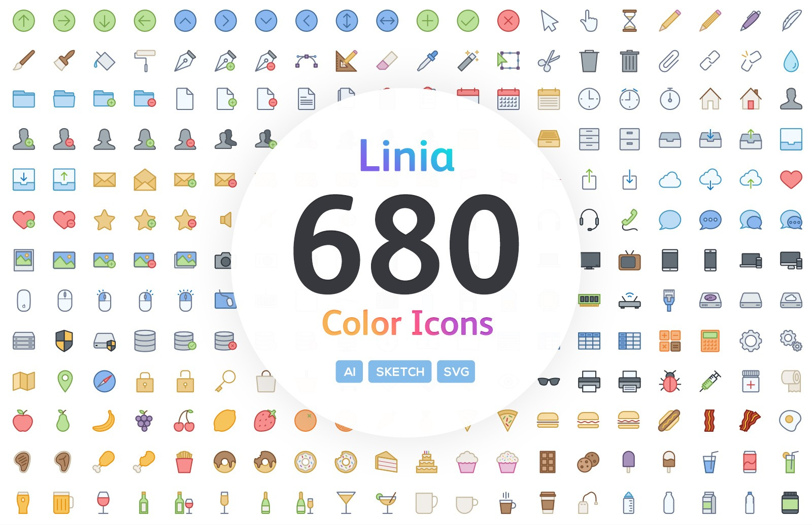Linia Vector Line Icons Color Preview 1