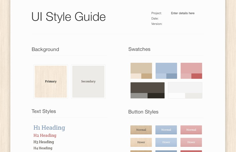 Light Wood UI Style Guide