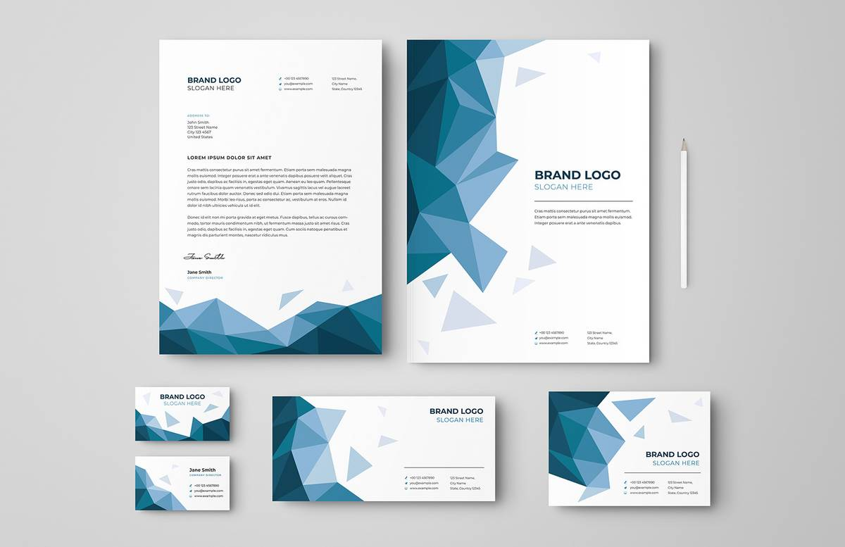 Low Poly Business Stationery Set Preview 1