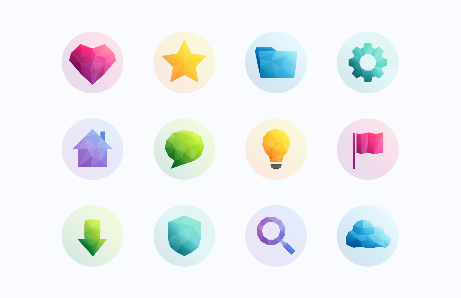 Low Poly Gradient Vector Icons
