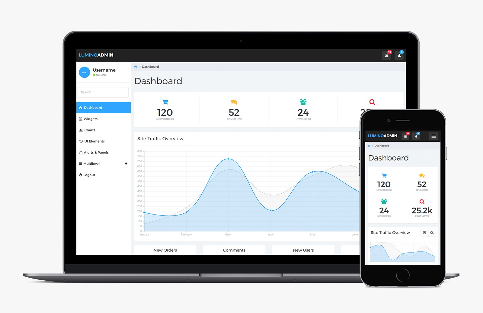 Lumino: Free Bootstrap Admin Template — Medialoot
