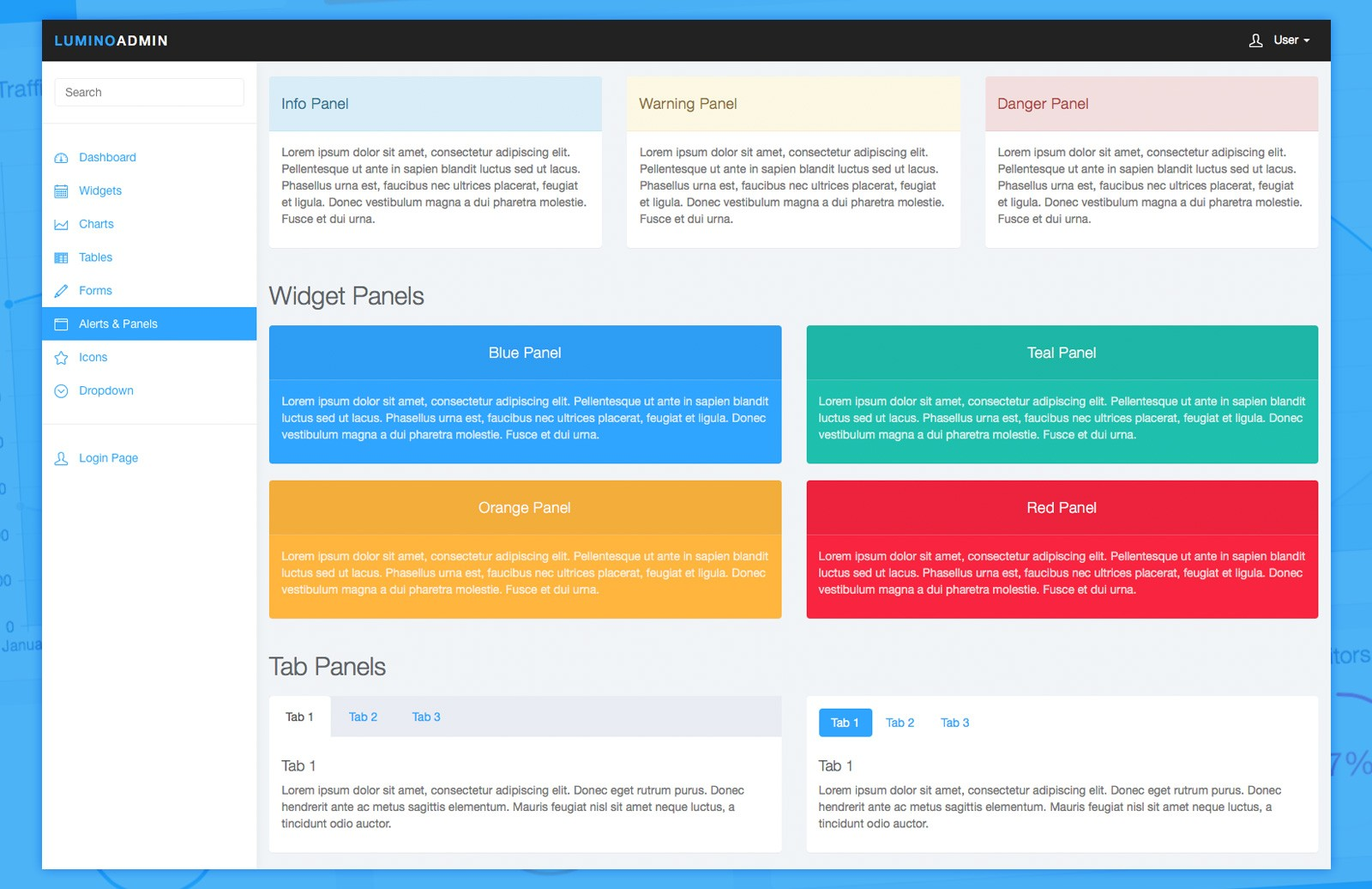 Lumino  Admin  Bootstrap  Template  Preview 3A